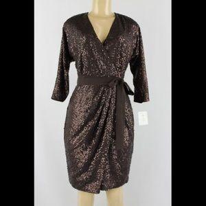 Suzi Chin Maggy Boutique Brown Sequin Dress